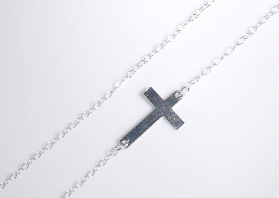 Sideways Cross Necklace Sterling Silver Necklace