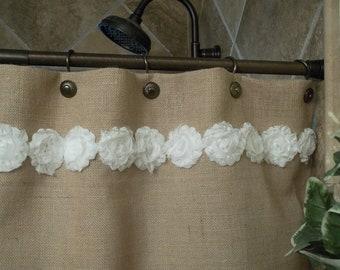 Burlap Shower Curtain - Shabby White Flower Trim