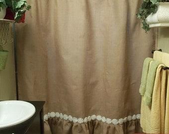 Ruffled Bottom Burlap Shower Curtain with White Shabby Flower Trim