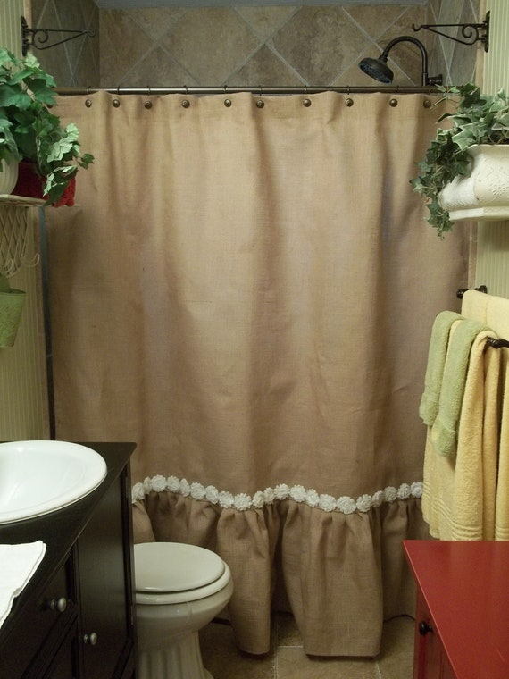 ruffled bottom burlap shower curtain with by