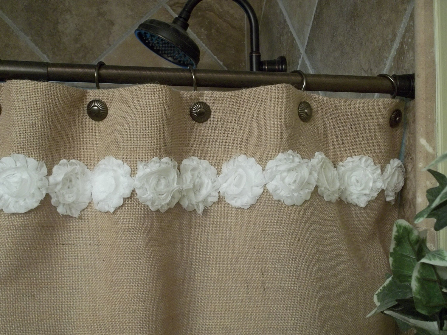 Burlap Shower Curtain Shabby White Flower By