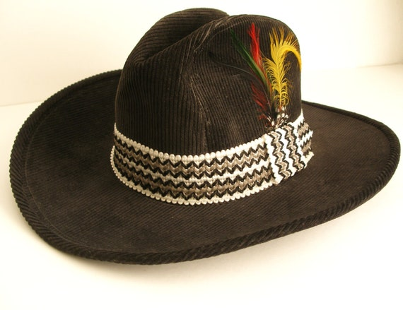 Black Corduroy Cowboy Hat with Gray and White Woven Hatband & Feathers - Gifts For Him - Under 50