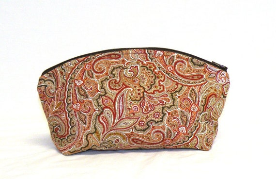 Extra Large Domed Make Up Bag in paisley print red/rust/brown/tan