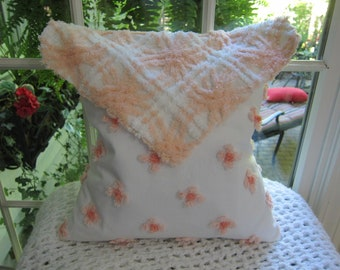 Hand Made White & Peach Chenille Envelope Pillow -w- Chenille Envelope Top Shabby Chic - Chenille Bedspread