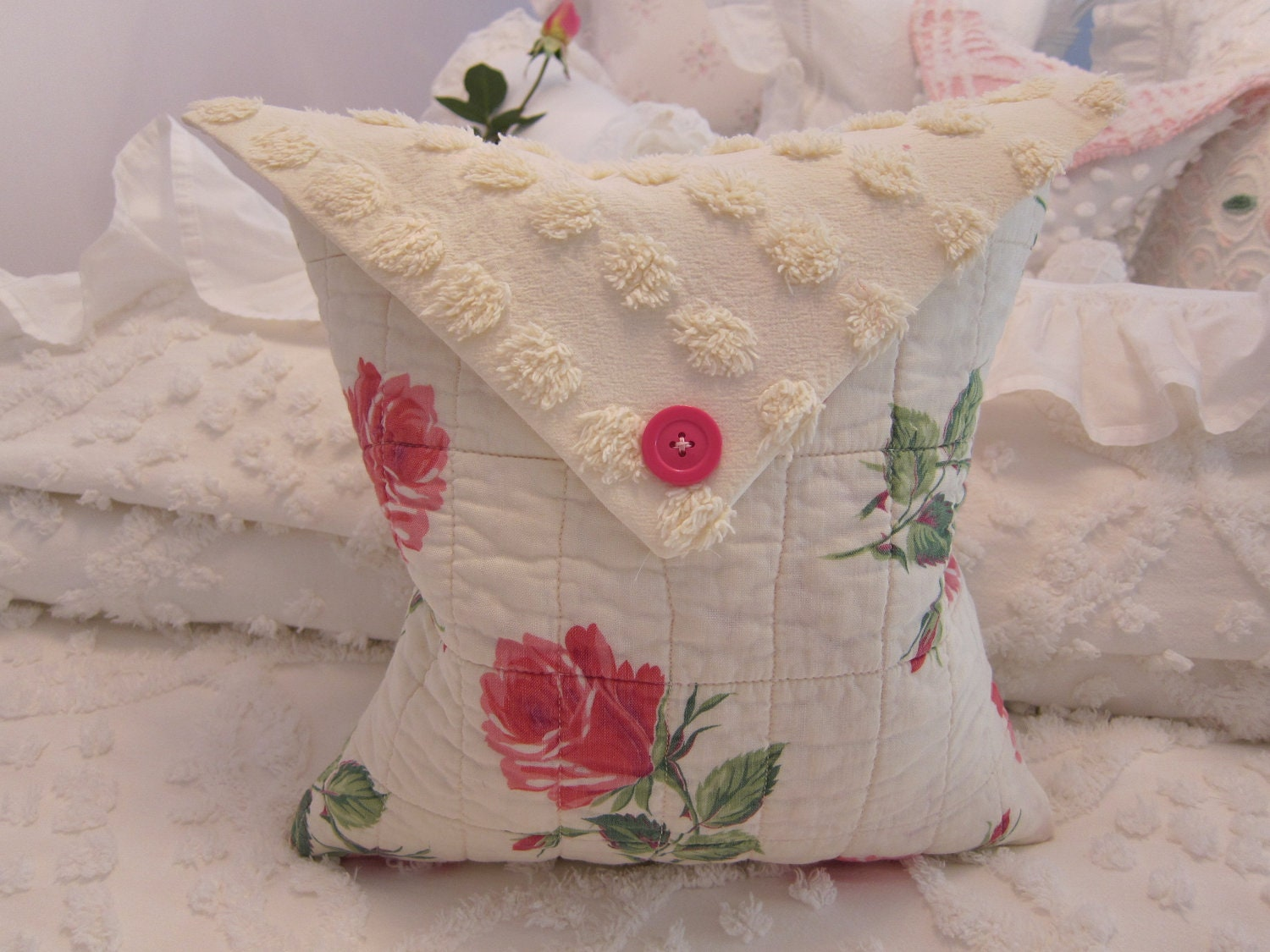 Vintage Whole Cloth Quilt Piece Pillow w Roses & by PillowLovelies