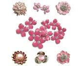 12pc  Mixture of Pink Enamel Rhinestone Buttons - CS3 - FREE SHIPPING Worldwide
