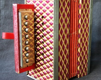 Fabulous vintage toy accordion.