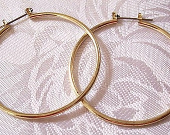 Round Tube Hoops Pierced Post Stud Earrings Gold Tone Vintage Open Extra Large Round Thin Rings