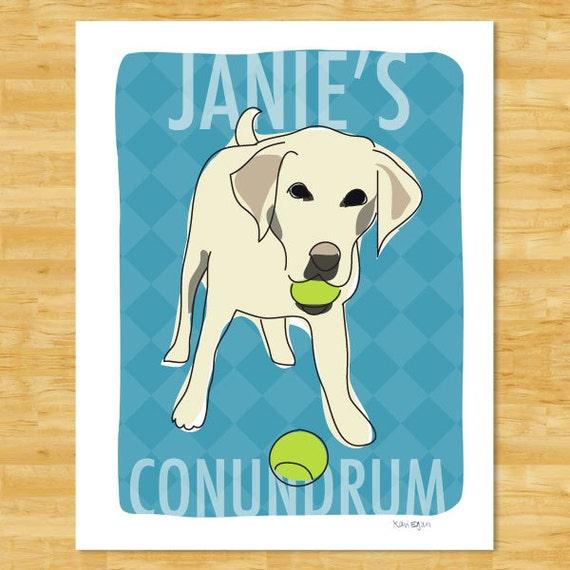 Personalized Custom Labrador Retriever Print - Yellow Lab Conundrum Labrador Retriever Gifts Dog Portraits