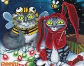 Xmas Cats - 8x8 art print - Two cats are not pleased about their costume Christmas gifts