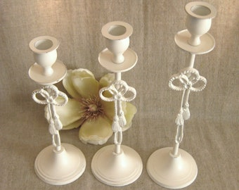 Shabby Cottage Candlestick Trio / Candle Holders in Heirloom White for Wedding or Home Decor