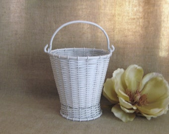 Woven Metal White Flower Girl Basket / Slightly Shabby Metal Basket