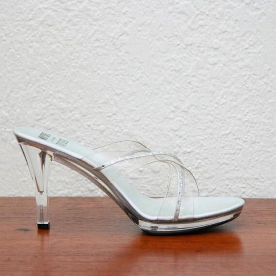 Vintage 90s Clear Lucite Platform Mules/Heels With Rhinestones 7 1/2