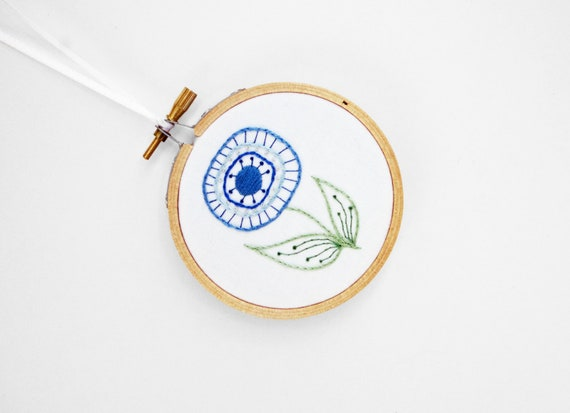 """Green and Blue Abstract Flower for the Home, in 3"""" Embroidery Hoop"""