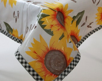 Rectangle Sunflower Oilcloth Tablecloth with Gingham Black Trim