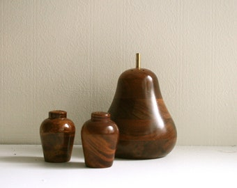 Small Wooden Salt and Pepper with a big shaker wooden pear