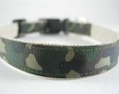 Hemp Dog Collar - Camouflage Military - 3/4in