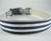 Hemp Dog Collar - Yankees Navy White - 3/4in