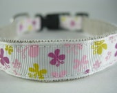 Hemp Dog Collar - Pink Yellow Purple Butterflies - 3/4in