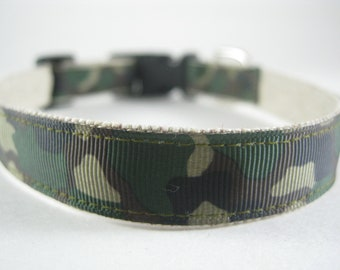 Hemp Dog Collar - Camouflage Military - 1/2in