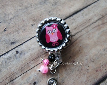 Badge reels - Pink Owl with black background Retractable Badge Reel with BLING