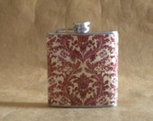 Girly Valentine's Day Gift Flask Red and Cream Damask Print 6 ounce Stainless Steel Gift Flask KR2D 6095