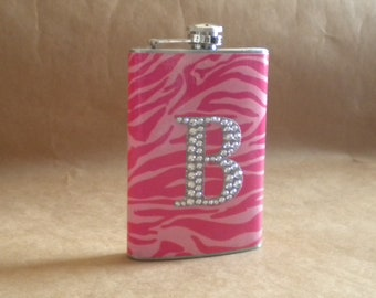 Personalized Gift Flask Pink on Pink Zebra Print with ANY Rhinestone Initial 8 ounce Stainless Steel Girly Gift Flask KR2D 5254