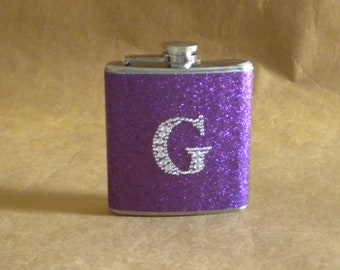 Personalized Sorority Gift Flask Bright Purple or ANY Color Sparkly with ANY Rhinestone Initial 6 oz Stainless Steel Gift Flask KR2D 6016