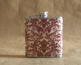 Girly Gift Flask Red and Cream Damask Print 6 ounce Stainless Steel Gift Flask KR2D 6095