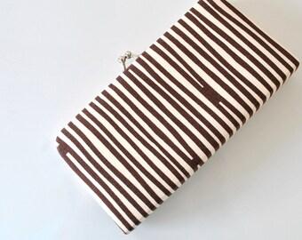 Stripe in Brown - Small Flat  Clutch