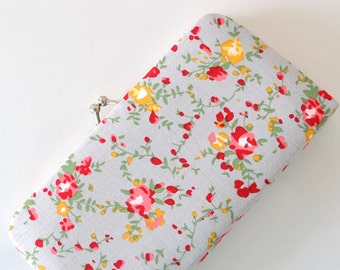 Floral ASSA in Gray - Small Flat  Clutch