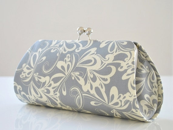 Rhythmic in Gray -- Medium Clutch Purse -- Ready to Ship