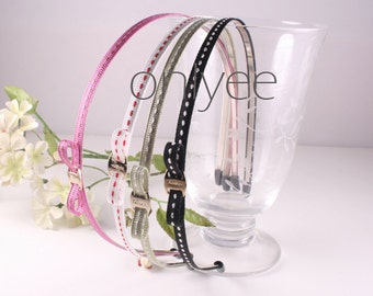 4PCS-5MM High Flex Metal Headband covered with Stitch Grosgrain Ribbon and Rubber Tips, Handmade(E212)