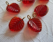 Ruby Red Glass Leaf Charms Beads Leaves with Brass Loops 13mm X 12mm - Qty 12