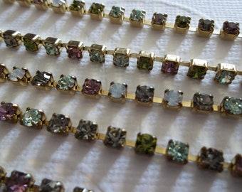 3mm White Opal, Green & Light Purple Rhinestone Chain - Brass Setting - Preciosa Czech Crystals