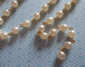 Bead Chain Rosary Chain Round Cream Pearl 6mm Glass Beads on Gold Beaded Chain - Qty 18 inch strand