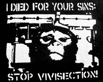 Stop Vivisection Vegan Activist Punk DIY Patch Screen Printed