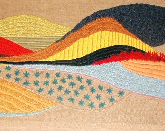 OOAK, Decorative Arts, Wall Hangings, Textiles, Tapestry, Embroidery, Fiber art, Landscape, Modern Art, Handmade Embroidery, Tuscan Dream