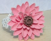 Pink Mum or Dahlia Flower Cuff Bracelet on White Filigree