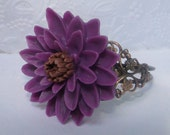 Dark Purple Dahlia or Mum Flower Bracelet on Copper Filigree Cuff