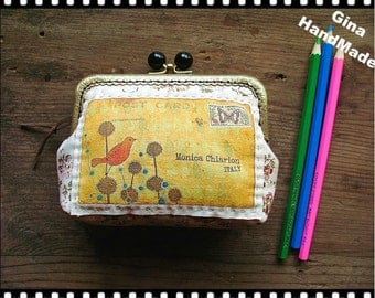 Bird Postcard Vintage style Black-bead  Metal frame purse/coin purse / Coin Wallet /Pouch / Kiss lock frame bag-GinaHandMade