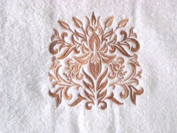 Iris Embroidered Hand Towel