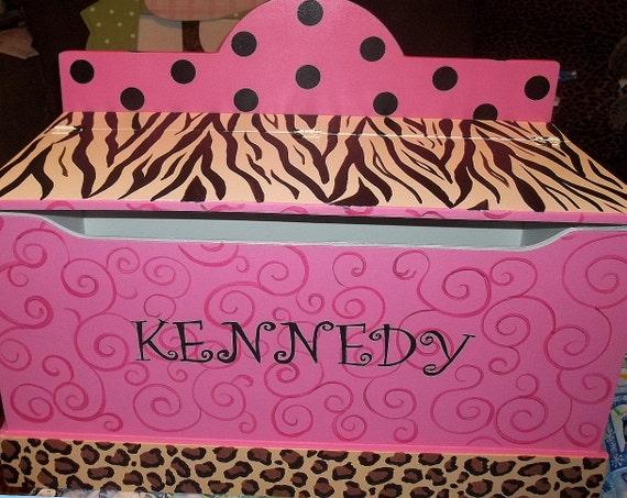 Carnival Toy Box Pink: CUSTOM Zebra Cheetah Hot Pink Brown ToyChest Toy Box Storage