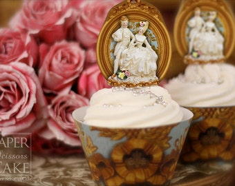 18th Century Paris - Marie Antoinette Style - Printable Cupcake Topper And Wrapper Set - Simply Print, Cut, Assemble, Enjoy