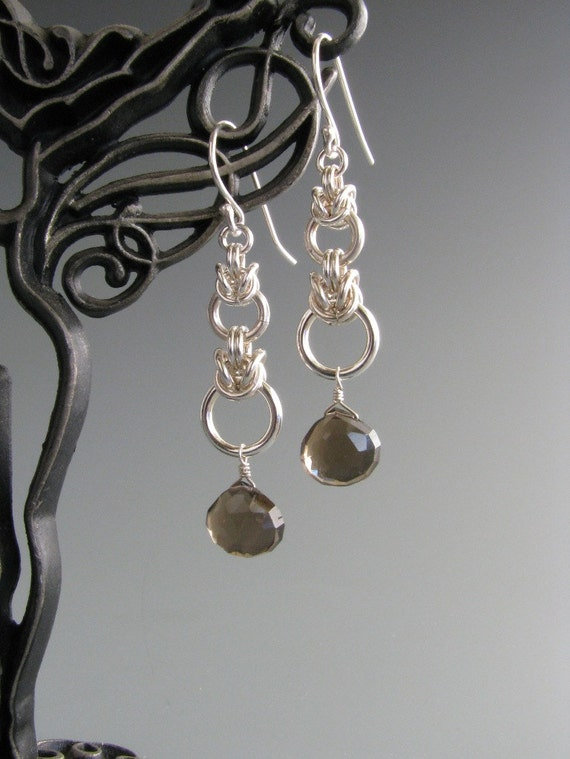 Graduated Byzantine Drop Chainmaille Earrings with Smokey Quartz
