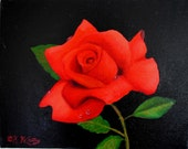 Three - Red Rose with Dew Drops original oil paintings 11x14 by artist Kathy McCartney