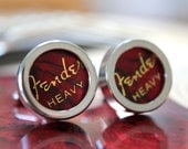 Red Guitar Pick Custom Cufflinks Heavy  - Multiple Colors Available