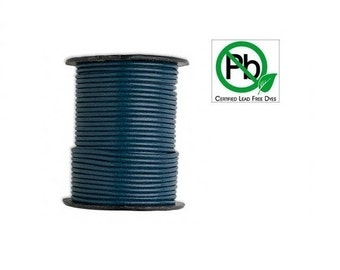 Round Leather Cord Blue  2mm 5meters
