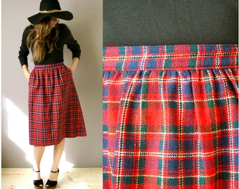 Vintage 1970s Pendleton Wool Plaid Skirt