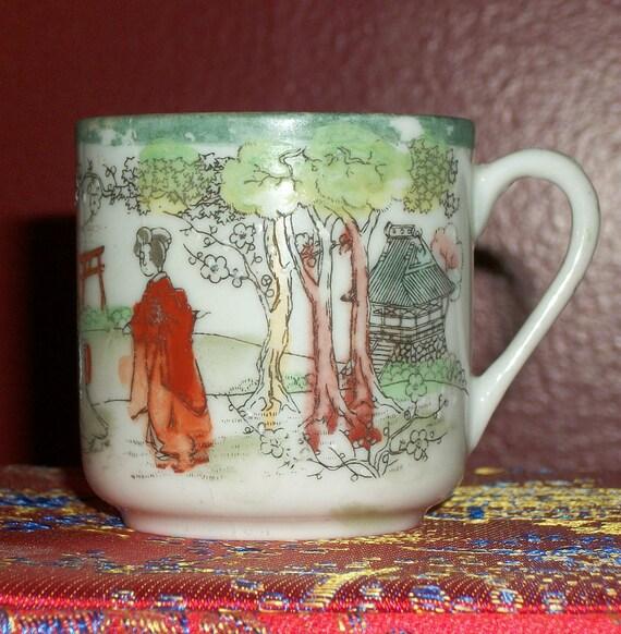 Vintage Geisha Ware Green Demitasse Cup
